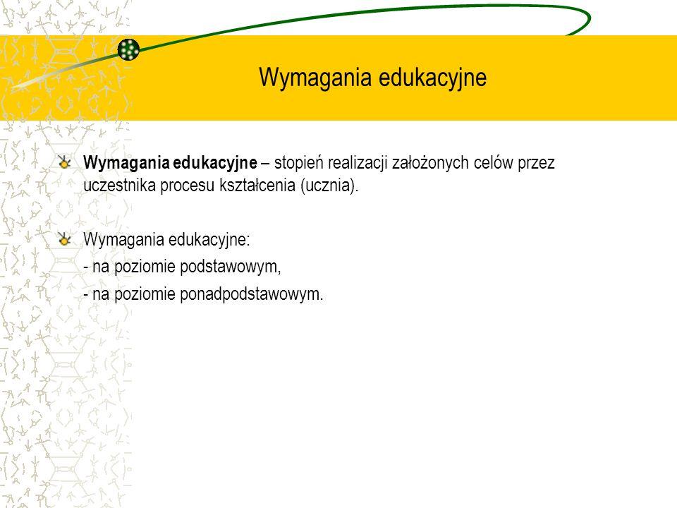 Wymagania edukacyjne Wymagania edukacyjne – stopień realizacji założonych celów przez uczestnika procesu kształcenia (ucznia).
