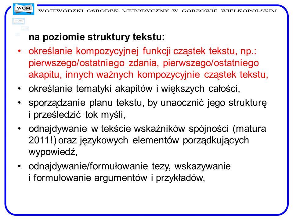 na poziomie struktury tekstu: