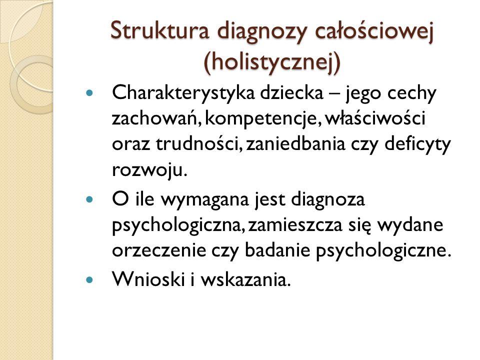 Struktura diagnozy całościowej (holistycznej)