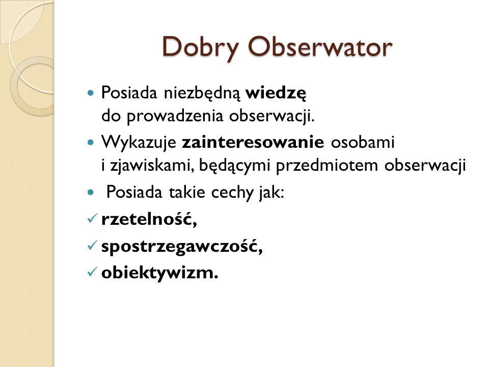 Dobry Obserwator Posiada niezbędną wiedzę do prowadzenia obserwacji.