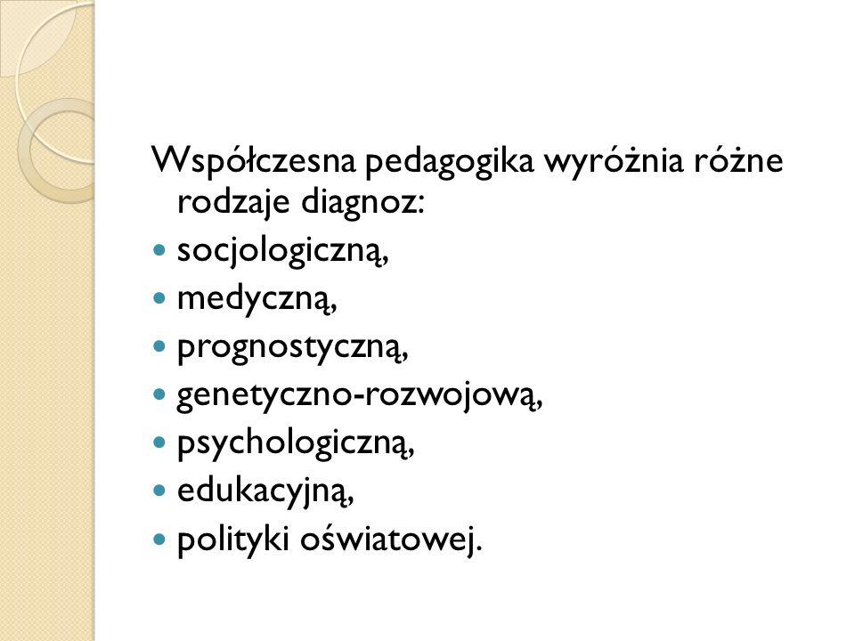 Współczesna pedagogika wyróżnia różne rodzaje diagnoz: