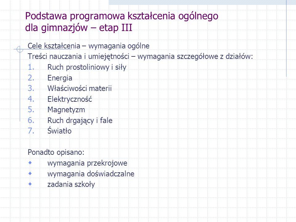 Podstawa programowa kształcenia ogólnego dla gimnazjów – etap III