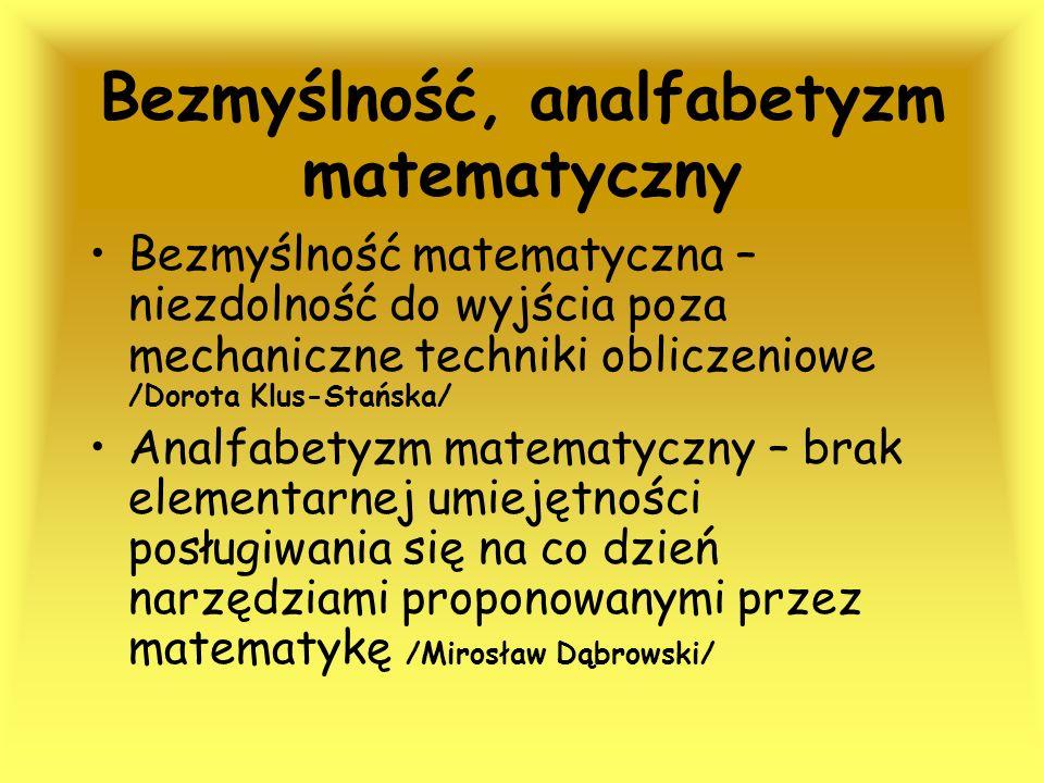 Bezmyślność, analfabetyzm matematyczny