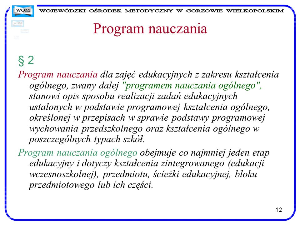 Program nauczania§ 2.