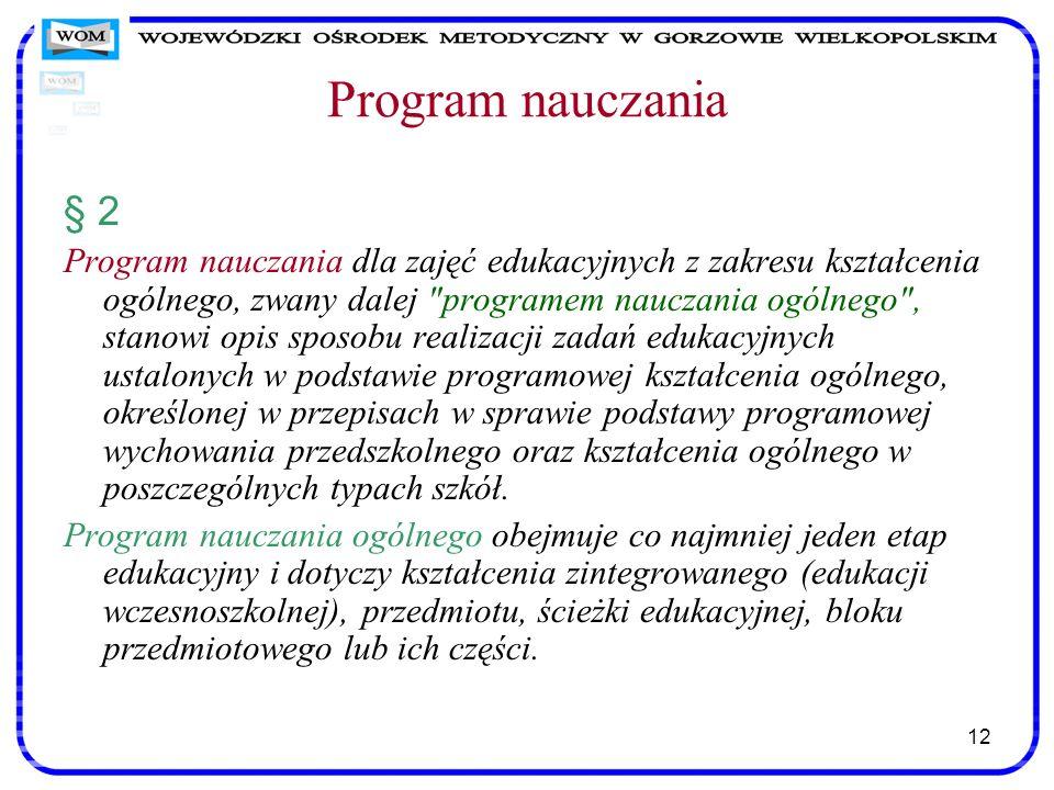Program nauczania § 2.