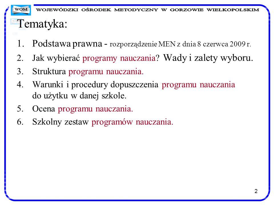 Tematyka: Podstawa prawna - rozporządzenie MEN z dnia 8 czerwca 2009 r. Jak wybierać programy nauczania Wady i zalety wyboru.