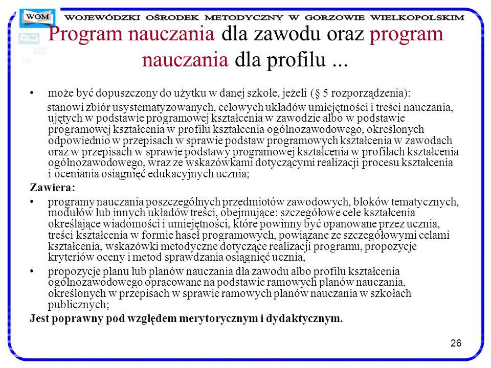Program nauczania dla zawodu oraz program nauczania dla profilu ...