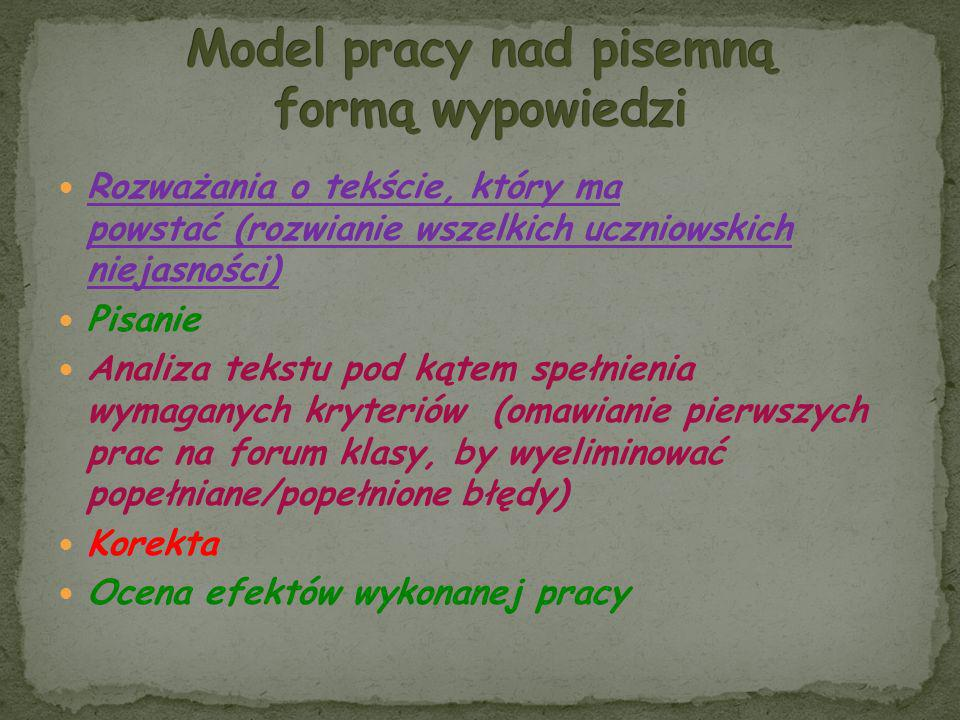 Model pracy nad pisemną formą wypowiedzi