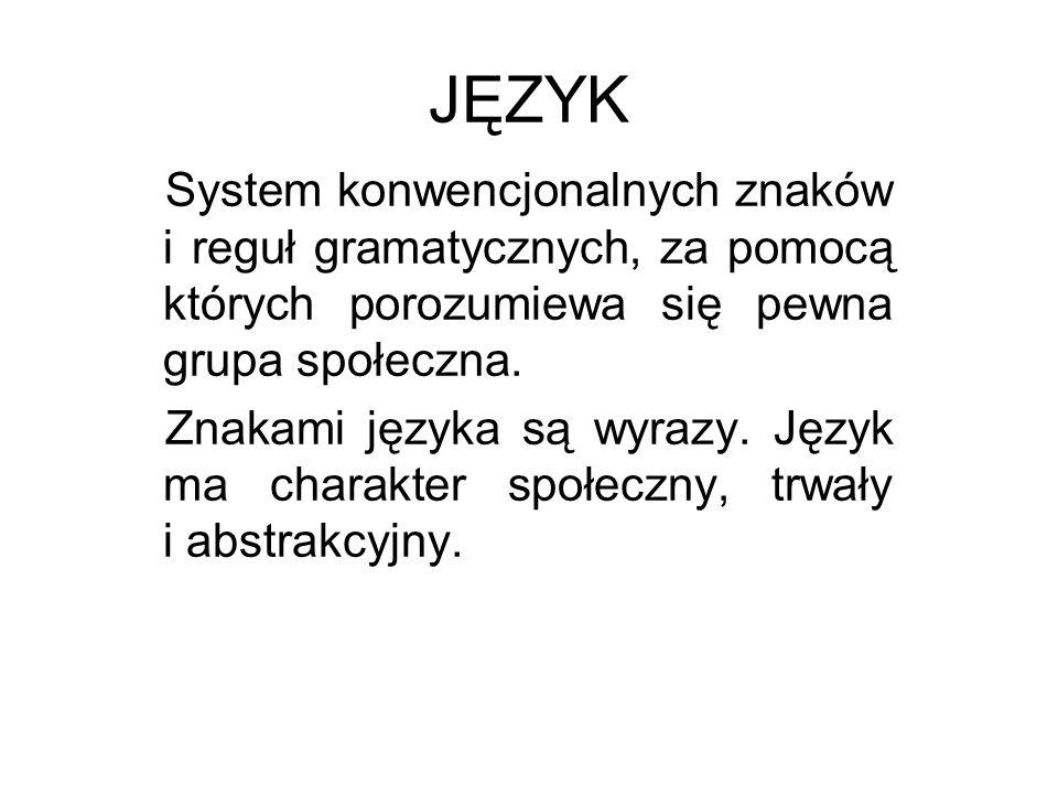 JĘZYK System konwencjonalnych znaków i reguł gramatycznych, za pomocą których porozumiewa się pewna grupa społeczna.