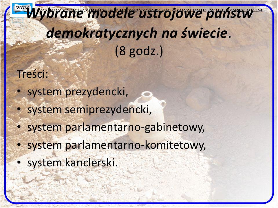 Wybrane modele ustrojowe państw demokratycznych na świecie. (8 godz.)