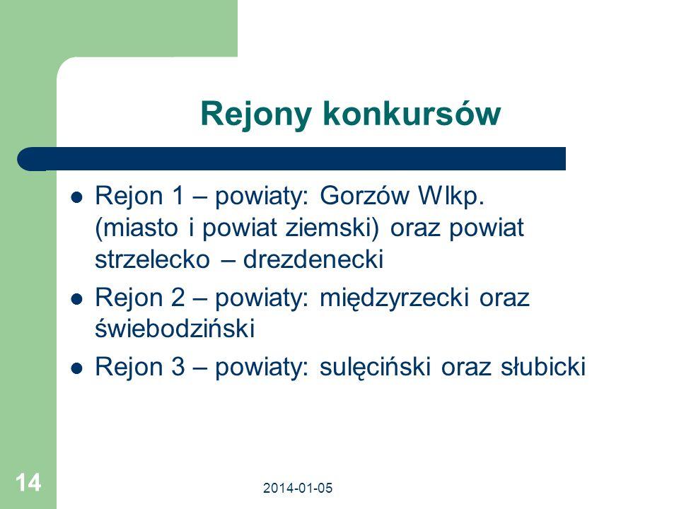Rejony konkursówRejon 1 – powiaty: Gorzów Wlkp. (miasto i powiat ziemski) oraz powiat strzelecko – drezdenecki.