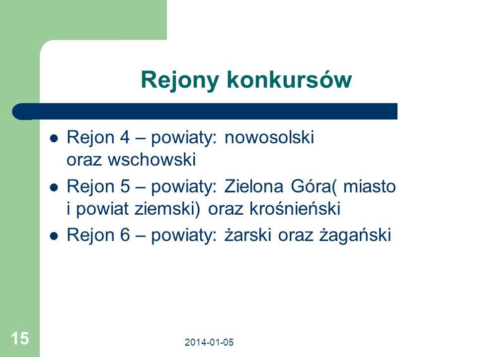 Rejony konkursów Rejon 4 – powiaty: nowosolski oraz wschowski