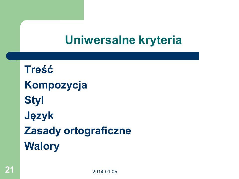 Uniwersalne kryteria Treść Kompozycja Styl Język Zasady ortograficzne