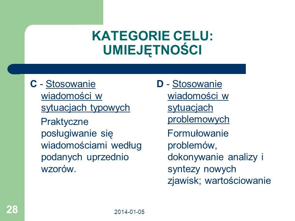 KATEGORIE CELU: UMIEJĘTNOŚCI