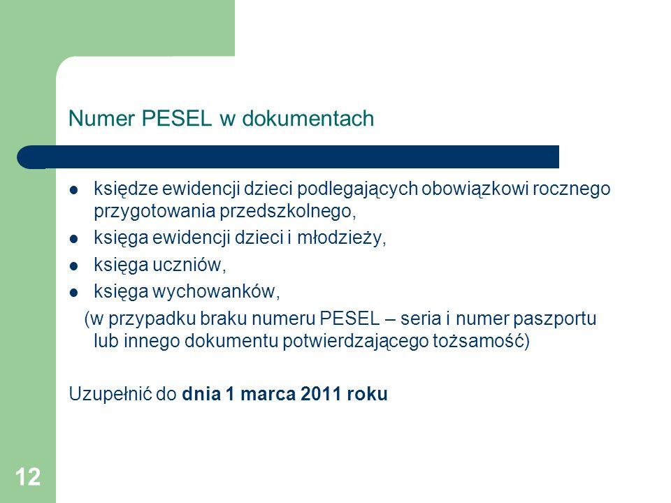 Numer PESEL w dokumentach