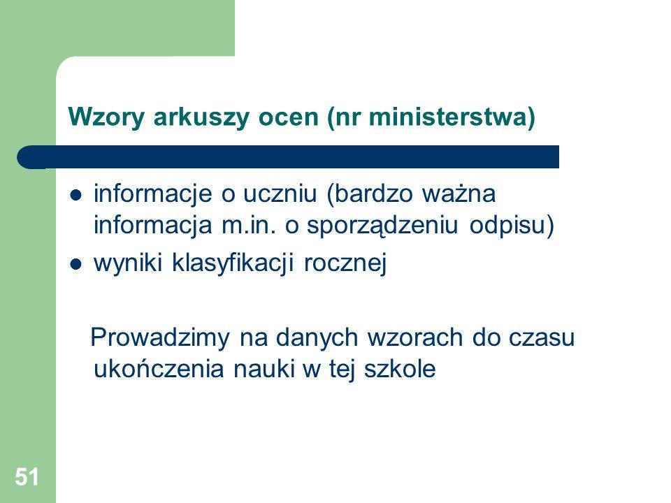 Wzory arkuszy ocen (nr ministerstwa)