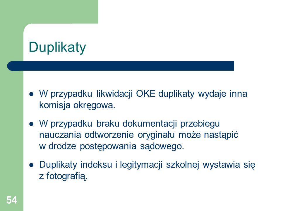 Duplikaty W przypadku likwidacji OKE duplikaty wydaje inna komisja okręgowa.