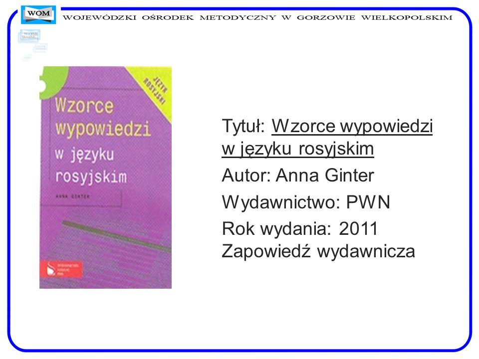 Tytuł: Wzorce wypowiedzi w języku rosyjskim