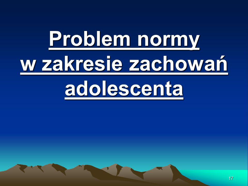 Problem normy w zakresie zachowań adolescenta