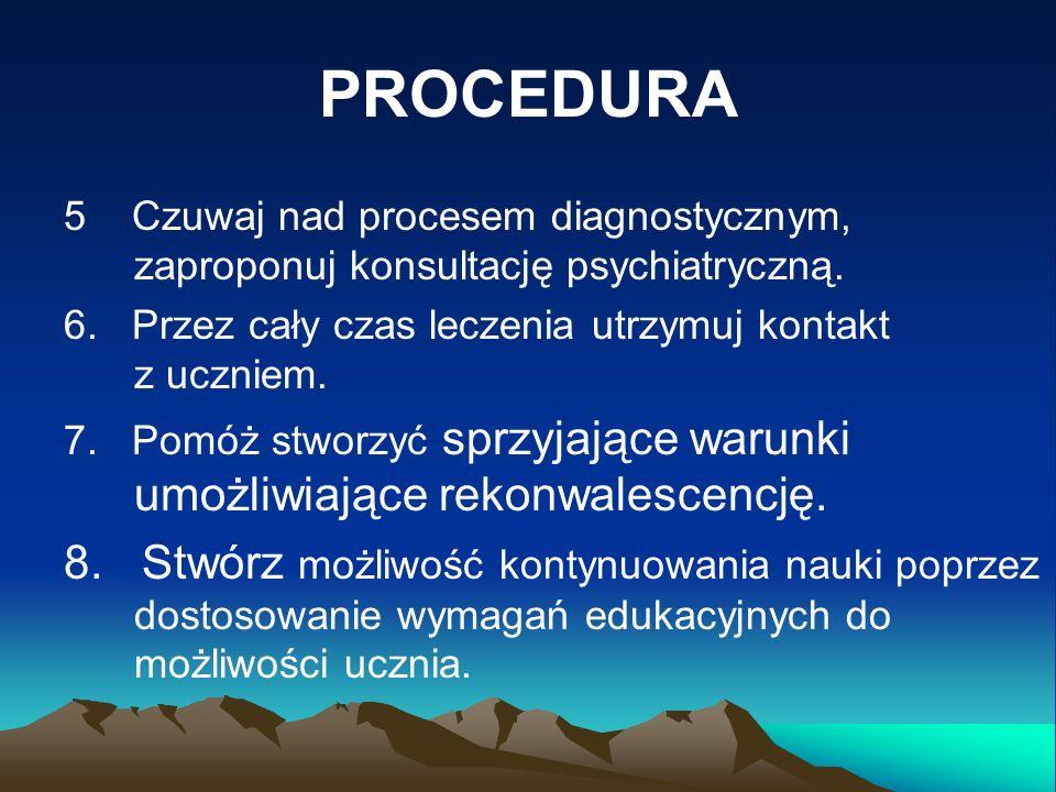 PROCEDURA 5 Czuwaj nad procesem diagnostycznym, zaproponuj konsultację psychiatryczną.