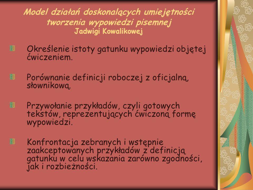 Model działań doskonalących umiejętności tworzenia wypowiedzi pisemnej Jadwigi Kowalikowej