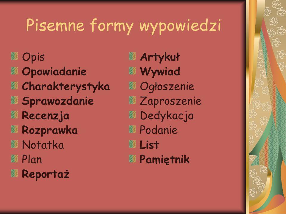 Pisemne formy wypowiedzi