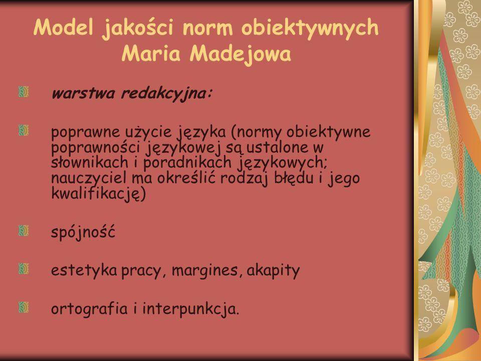 Model jakości norm obiektywnych Maria Madejowa