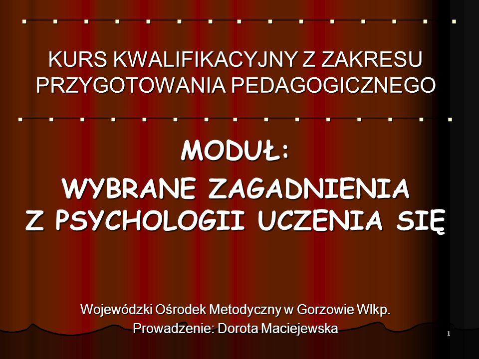 MODUŁ: WYBRANE ZAGADNIENIA Z PSYCHOLOGII UCZENIA SIĘ