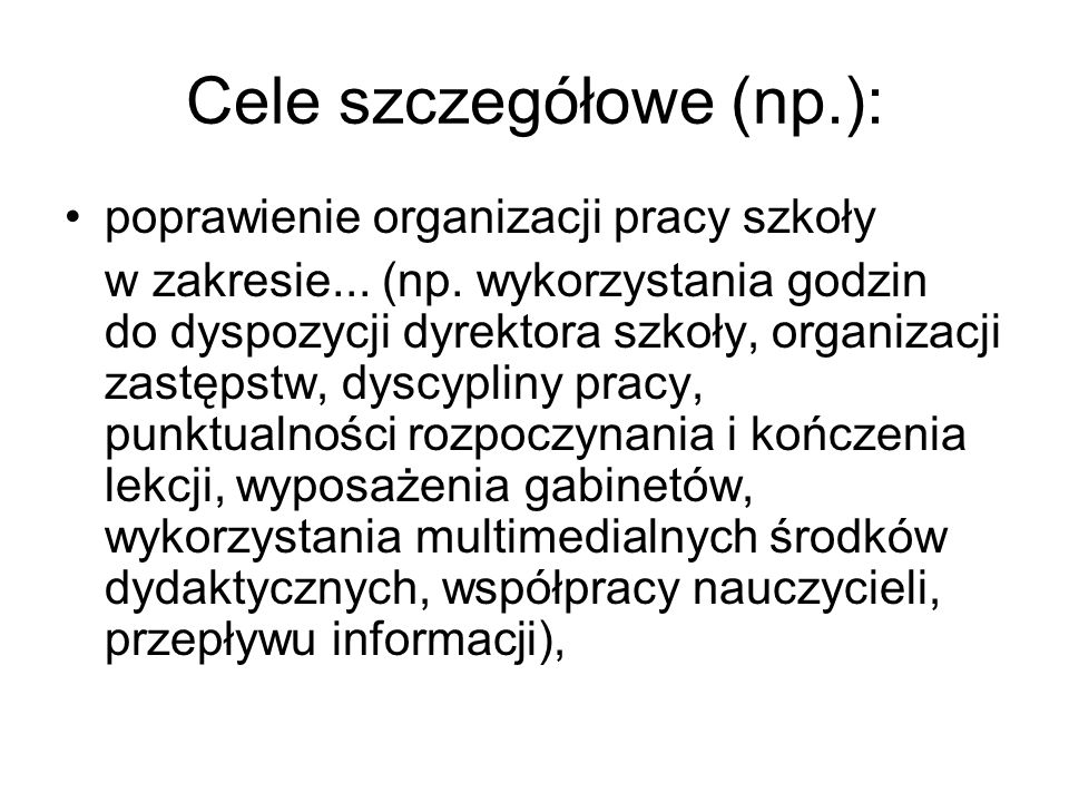 Cele szczegółowe (np.):