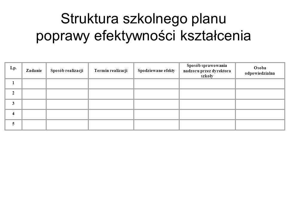 Struktura szkolnego planu poprawy efektywności kształcenia
