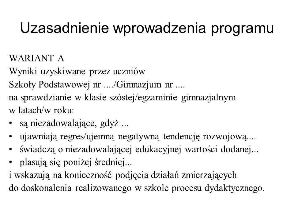 Uzasadnienie wprowadzenia programu
