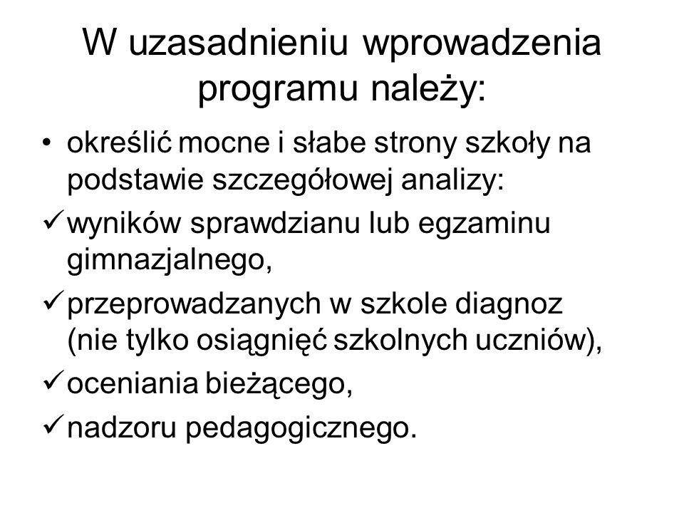 W uzasadnieniu wprowadzenia programu należy: