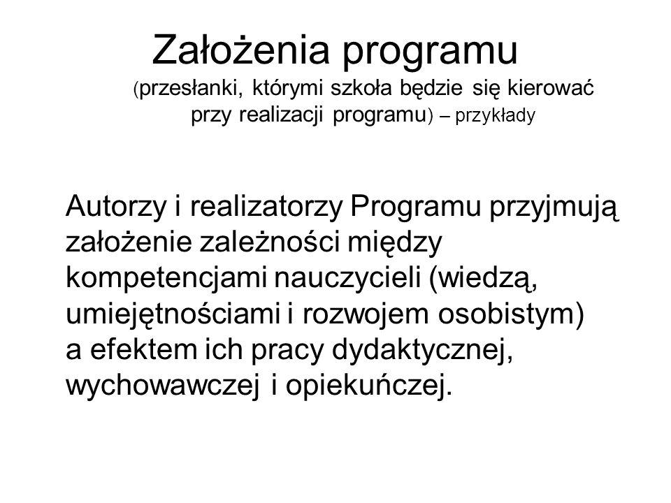 Założenia programu (przesłanki, którymi szkoła będzie się kierować przy realizacji programu) – przykłady