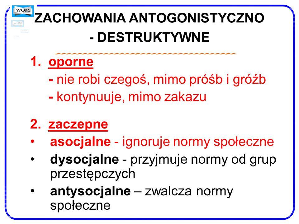 ZACHOWANIA ANTOGONISTYCZNO - DESTRUKTYWNE