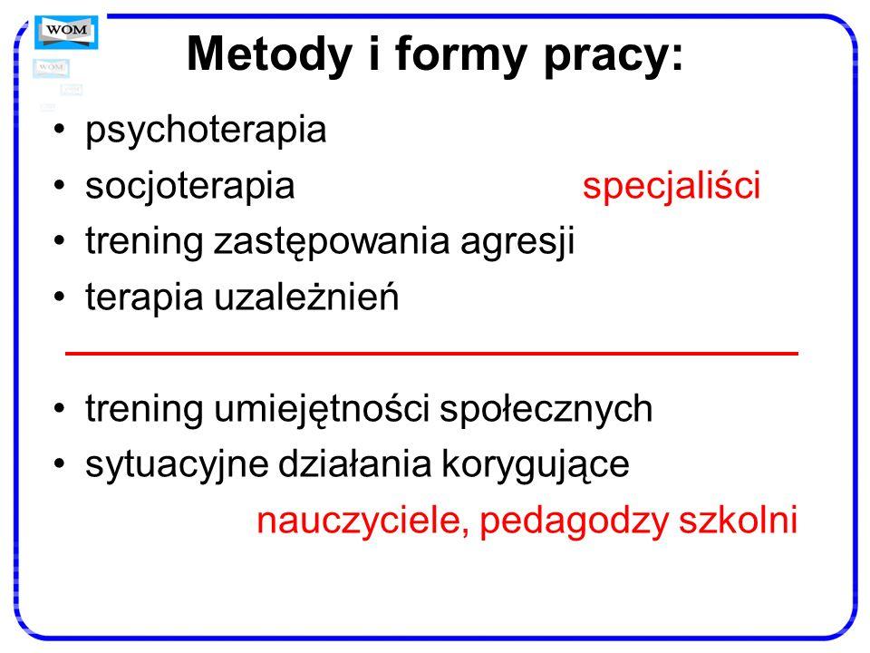 Metody i formy pracy: psychoterapia socjoterapia specjaliści