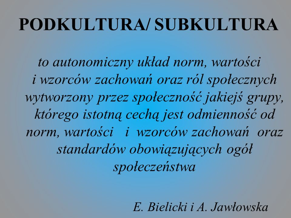 PODKULTURA/ SUBKULTURA