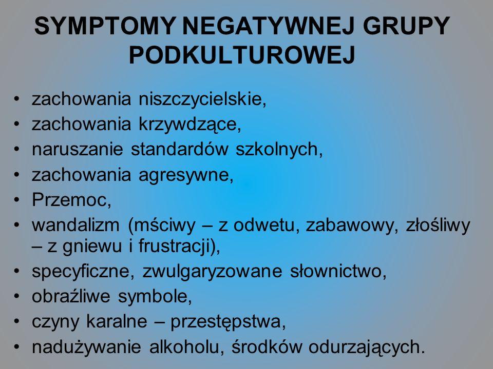 SYMPTOMY NEGATYWNEJ GRUPY PODKULTUROWEJ