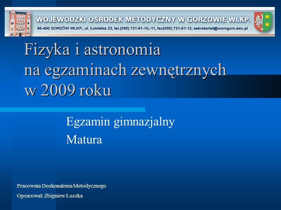 Fizyka i astronomia na egzaminach zewnętrznych w 2009 roku