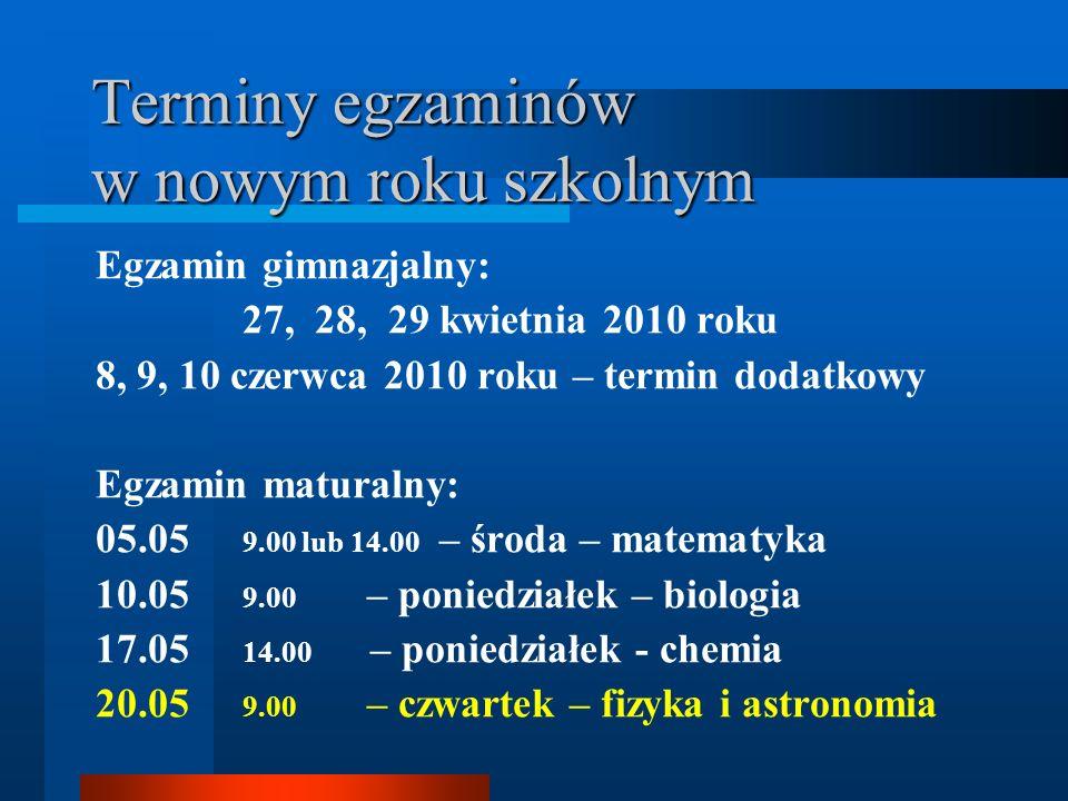 Terminy egzaminów w nowym roku szkolnym