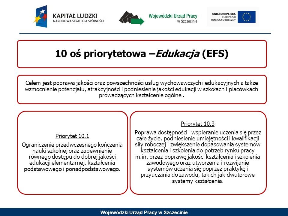 10 oś priorytetowa –Edukacja (EFS)