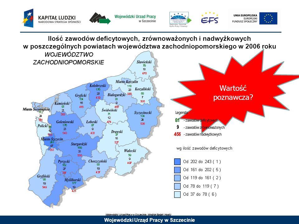 Ilość zawodów deficytowych, zrównoważonych i nadwyżkowych w poszczególnych powiatach województwa zachodniopomorskiego w 2006 roku