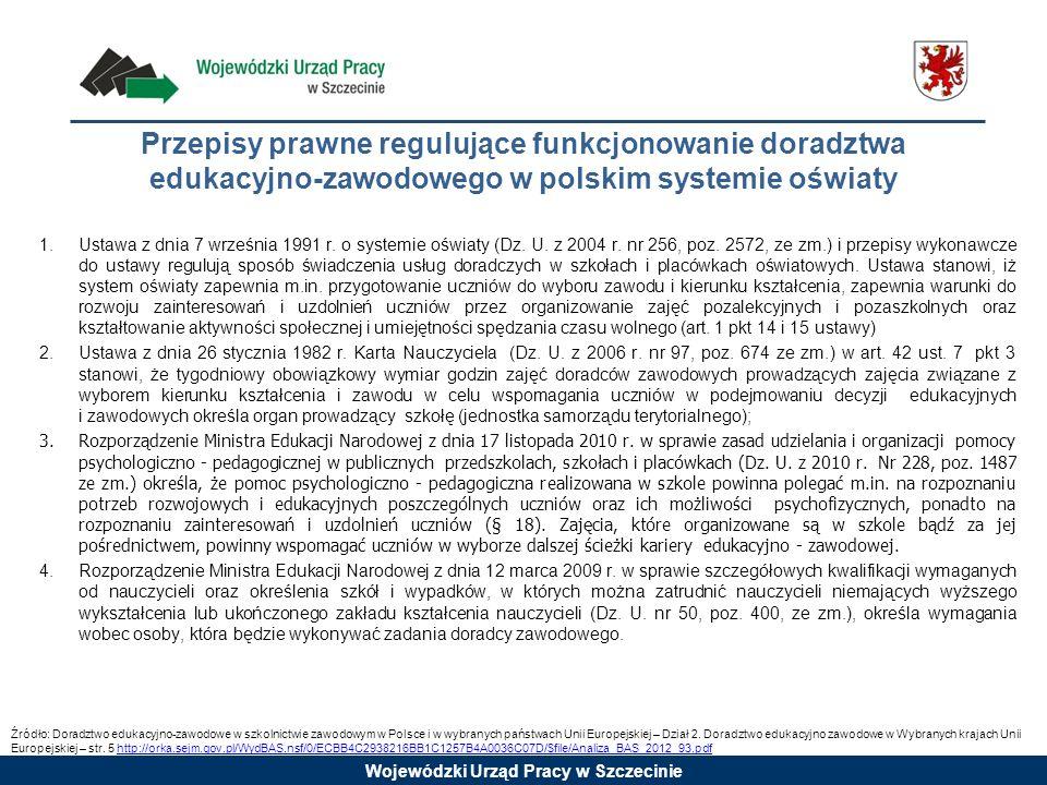 Przepisy prawne regulujące funkcjonowanie doradztwa edukacyjno-zawodowego w polskim systemie oświaty