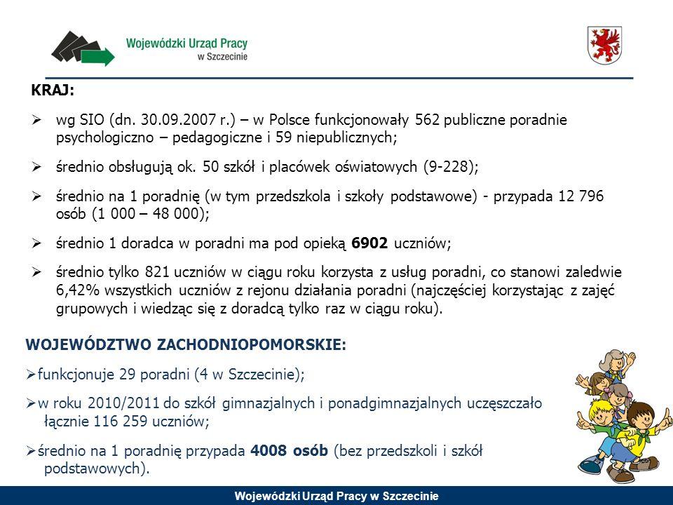 KRAJ:wg SIO (dn. 30.09.2007 r.) – w Polsce funkcjonowały 562 publiczne poradnie psychologiczno – pedagogiczne i 59 niepublicznych;