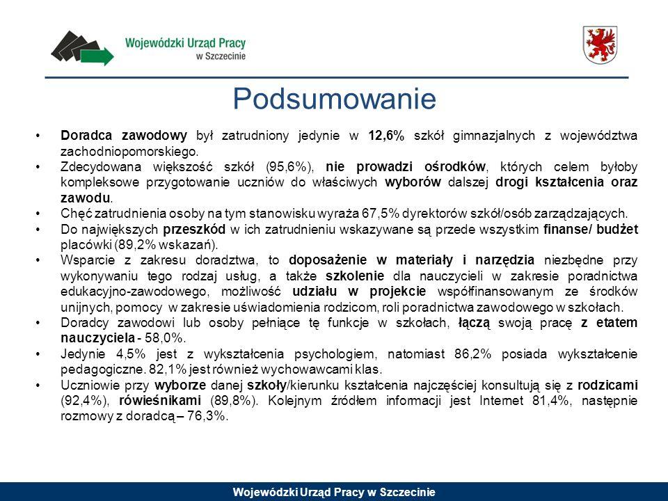Podsumowanie Doradca zawodowy był zatrudniony jedynie w 12,6% szkół gimnazjalnych z województwa zachodniopomorskiego.
