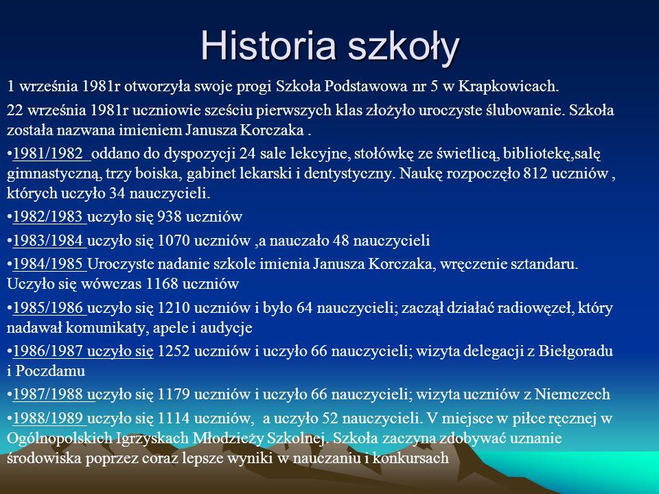 Historia szkoły 1 września 1981r otworzyła swoje progi Szkoła Podstawowa nr 5 w Krapkowicach.