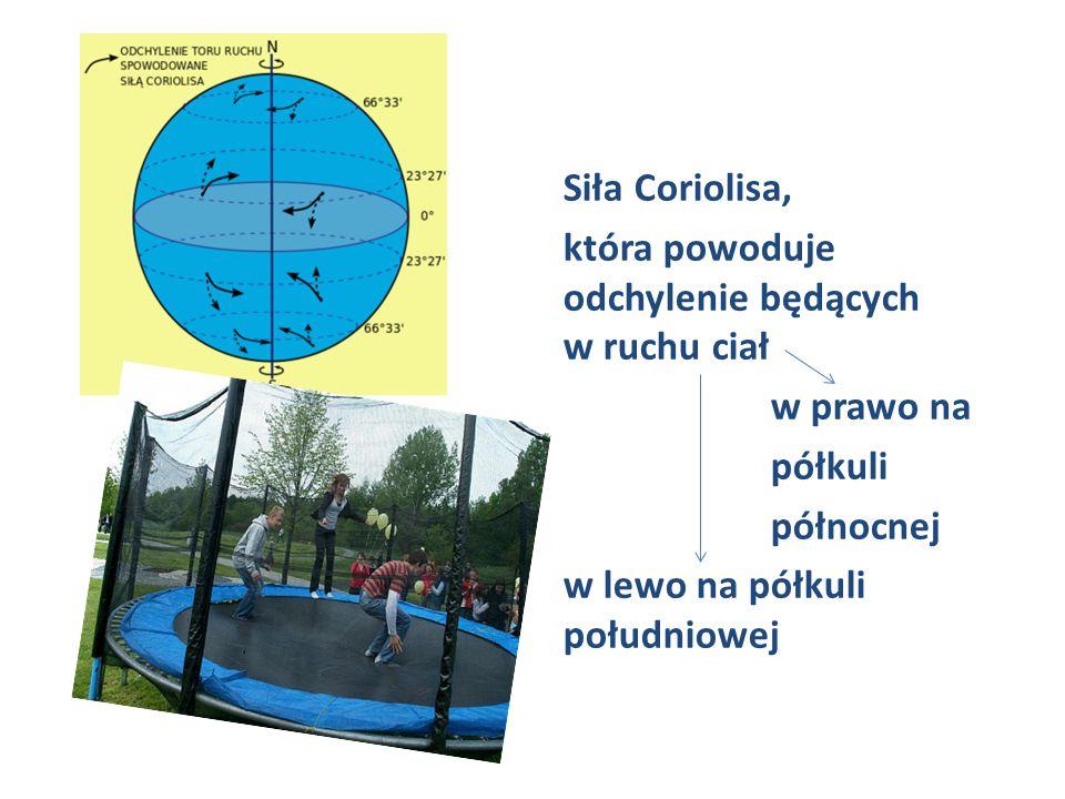 Siła Coriolisa, która powoduje odchylenie będących w ruchu ciał w prawo na półkuli północnej w lewo na półkuli południowej