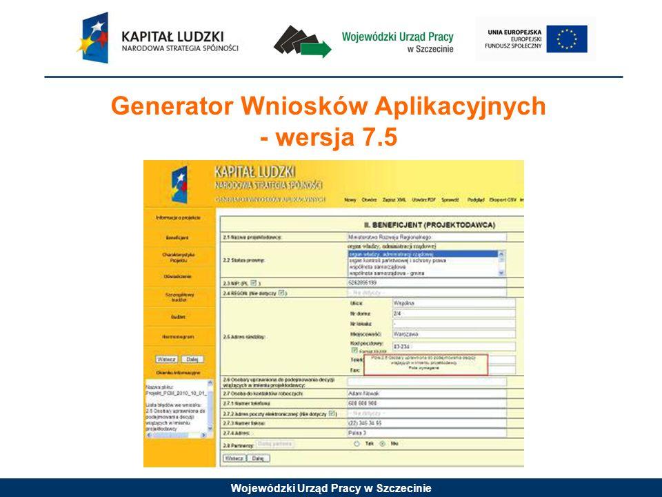 Generator Wniosków Aplikacyjnych - wersja 7.5