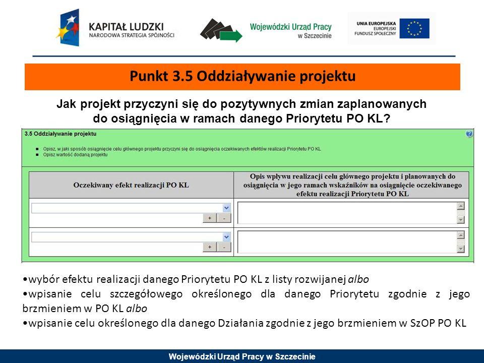 Punkt 3.5 Oddziaływanie projektu