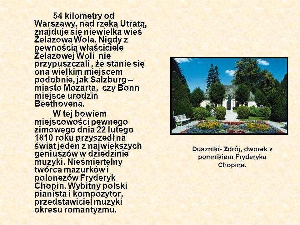 Duszniki- Zdrój, dworek z pomnikiem Fryderyka Chopina.