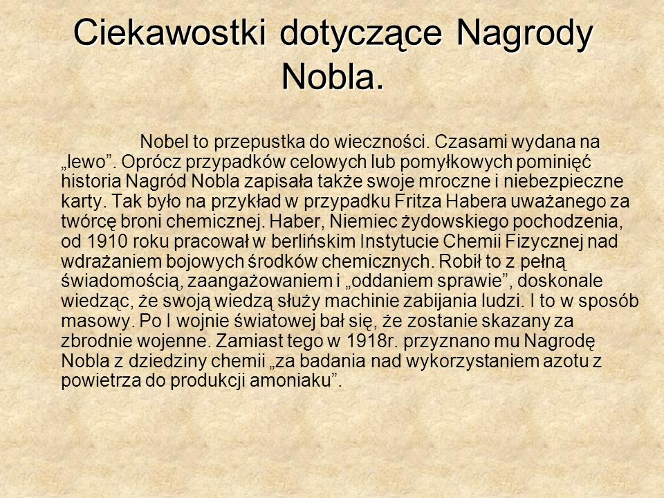 Ciekawostki dotyczące Nagrody Nobla.